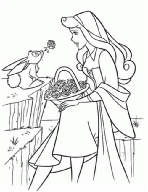 с цветами и зайцем