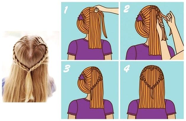 Плетение из очень коротких волос схема