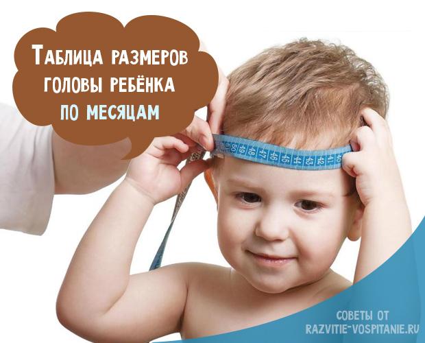 Размер окружности головы у новорожденного по месяцам